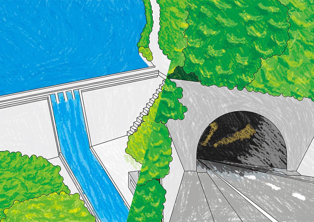 ダム、トンネル、道路、港湾など