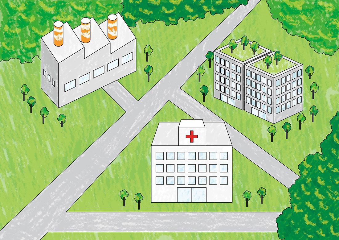 オフィスビル、病院、大学、工場など